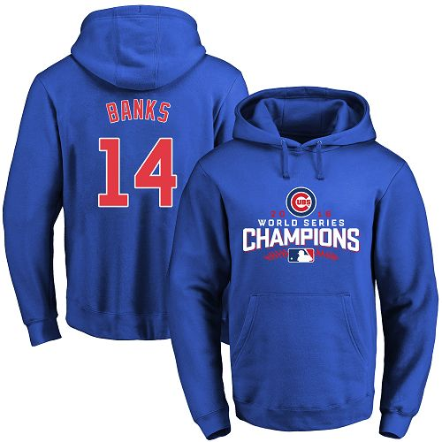 MLB Men's Chicago Cubs #14 Ernie Banks Royal 2016 World Series Champions Walk Pullover Hoodie