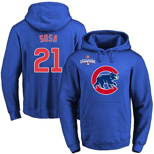 MLB Men's Chicago Cubs #21 Sammy Sosa Royal Team Color Primary Logo Pullover Hoodie