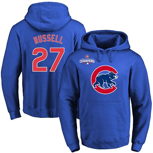 MLB Men's Chicago Cubs #27 Addison Russell Royal Team Color Primary Logo Pullover Hoodie
