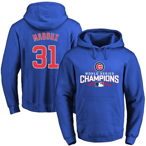 MLB Men's Chicago Cubs #31 Greg Maddux Royal 2016 World Series Champions Walk Pullover Hoodie