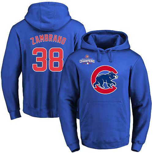MLB Men's Chicago Cubs #38 Carlos Zambrano Royal Team Color Primary Logo Pullover Hoodie