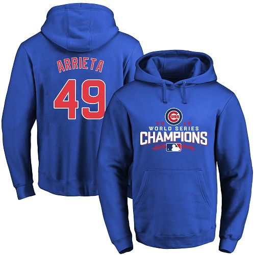 MLB Men's Chicago Cubs #49 Jake Arrieta Royal 2016 World Series Champions Walk Pullover Hoodie