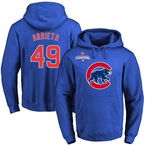 MLB Men's Chicago Cubs #49 Jake Arrieta Royal Team Color Primary Logo Pullover Hoodie