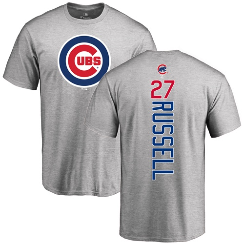 MLB Nike Chicago Cubs #27 Addison Russell Ash Backer T-Shirt