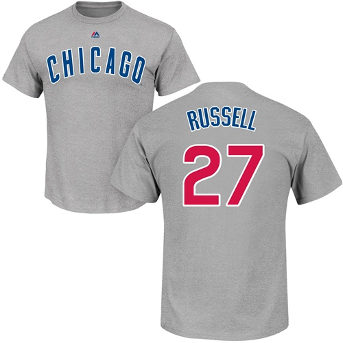 MLB Nike Chicago Cubs #27 Addison Russell Gray Name & Number T-Shirt