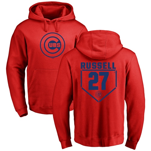 MLB Nike Chicago Cubs #27 Addison Russell Red RBI Pullover Hoodie