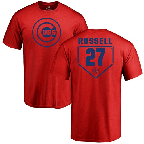 MLB Nike Chicago Cubs #27 Addison Russell Red RBI T-Shirt