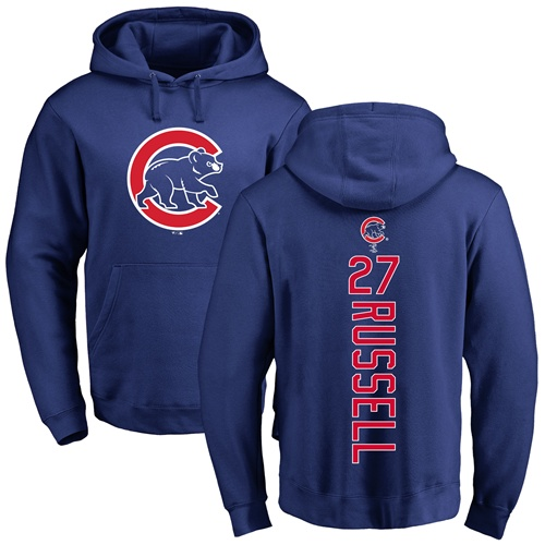 MLB Nike Chicago Cubs #27 Addison Russell Royal Blue Backer Pullover Hoodie