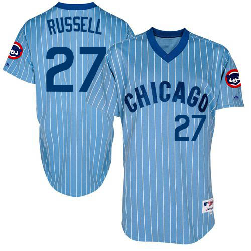 Men's Majestic Chicago Cubs #27 Addison Russell Authentic Blue Cooperstown Throwback MLB Jersey