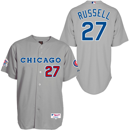 Men's Majestic Chicago Cubs #27 Addison Russell Authentic Grey 1990 Turn Back The Clock MLB Jersey