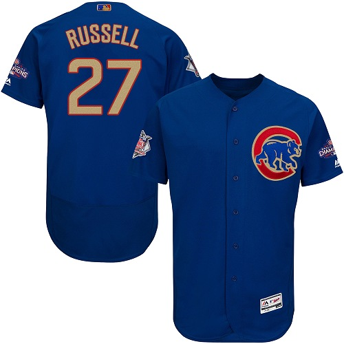 Men's Majestic Chicago Cubs #27 Addison Russell Authentic Royal Blue 2017 Gold Champion Flex Base MLB Jersey