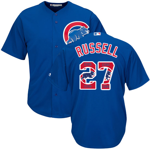 Men's Majestic Chicago Cubs #27 Addison Russell Authentic Royal Blue Team Logo Fashion Cool Base MLB Jersey