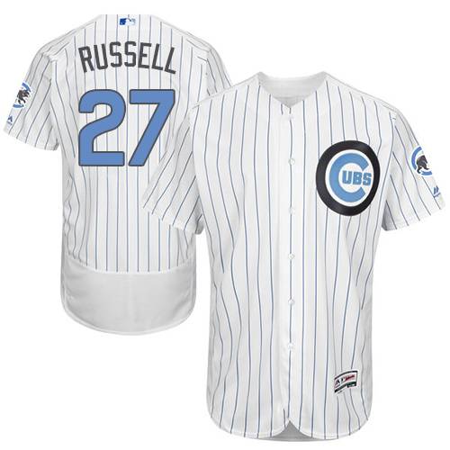 Men's Majestic Chicago Cubs #27 Addison Russell Authentic White 2016 Father's Day Fashion Flex Base MLB Jersey