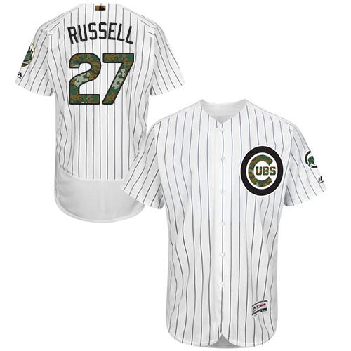Men's Majestic Chicago Cubs #27 Addison Russell Authentic White 2016 Memorial Day Fashion Flex Base MLB Jersey