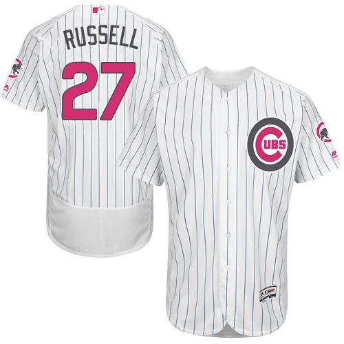 Men's Majestic Chicago Cubs #27 Addison Russell Authentic White 2016 Mother's Day Fashion Flex Base MLB Jersey