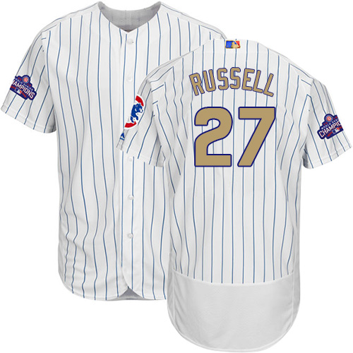 Men's Majestic Chicago Cubs #27 Addison Russell Authentic White 2017 Gold Program Flex Base MLB Jersey