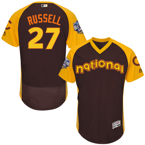 Men's Majestic Chicago Cubs #27 Addison Russell Brown 2016 All-Star National League BP Authentic Collection Flex Base MLB Jersey