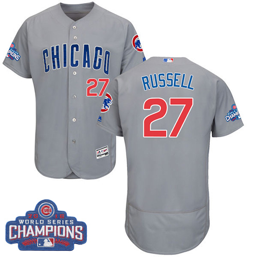 Men's Majestic Chicago Cubs #27 Addison Russell Grey 2016 World Series Champions Flexbase Authentic Collection MLB Jersey