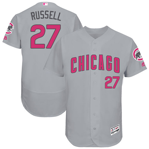 Men's Majestic Chicago Cubs #27 Addison Russell Grey Mother's Day Flexbase Authentic Collection MLB Jersey