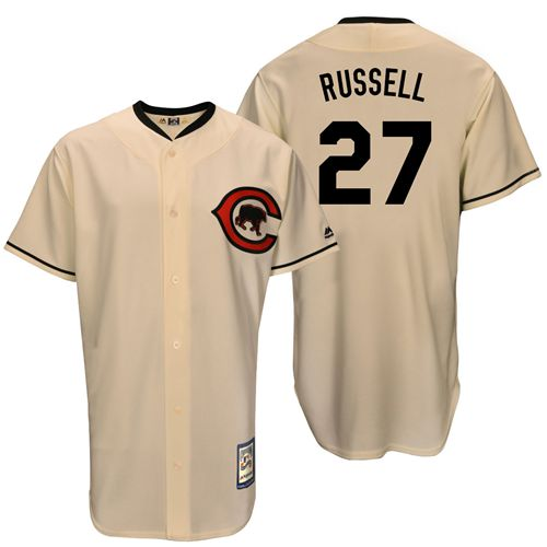 Men's Majestic Chicago Cubs #27 Addison Russell Replica Cream Cooperstown Throwback MLB Jersey