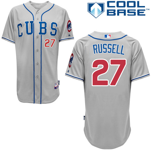 Men's Majestic Chicago Cubs #27 Addison Russell Replica Grey Alternate Road Cool Base MLB Jersey