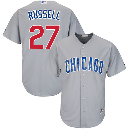 Men's Majestic Chicago Cubs #27 Addison Russell Replica Grey Road Cool Base MLB Jersey