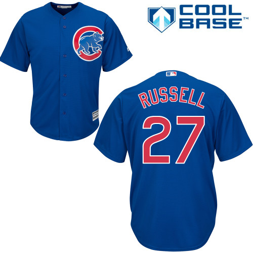 Men's Majestic Chicago Cubs #27 Addison Russell Replica Royal Blue Alternate Cool Base MLB Jersey