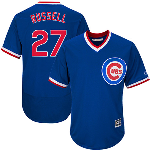 Men's Majestic Chicago Cubs #27 Addison Russell Replica Royal Blue Cooperstown Cool Base MLB Jersey
