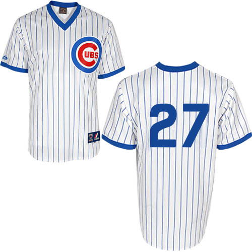Men's Majestic Chicago Cubs #27 Addison Russell Replica White 1988 Turn Back The Clock Cool Base MLB Jersey