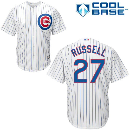 Men's Majestic Chicago Cubs #27 Addison Russell Replica White Home Cool Base MLB Jersey