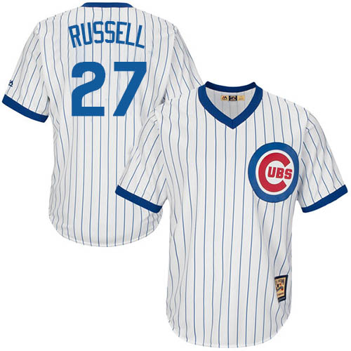Men's Majestic Chicago Cubs #27 Addison Russell Replica White Home Cooperstown MLB Jersey