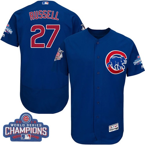 Men's Majestic Chicago Cubs #27 Addison Russell Royal Blue 2016 World Series Champions Flexbase Authentic Collection MLB Jersey