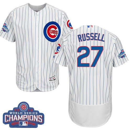 Men's Majestic Chicago Cubs #27 Addison Russell White 2016 World Series Champions Flexbase Authentic Collection MLB Jersey