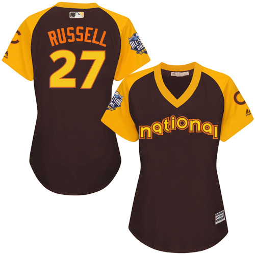 Women's Majestic Chicago Cubs #27 Addison Russell Authentic Brown 2016 All-Star National League BP Cool Base MLB Jersey