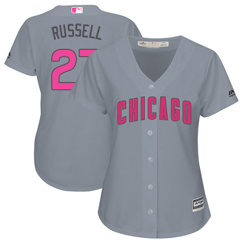 Women's Majestic Chicago Cubs #27 Addison Russell Authentic Grey Mother's Day Cool Base MLB Jersey