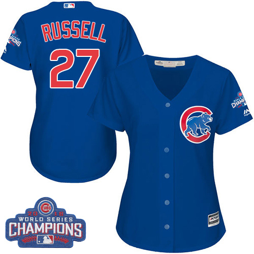 Women's Majestic Chicago Cubs #27 Addison Russell Authentic Royal Blue Alternate 2016 World Series Champions Cool Base MLB Jersey