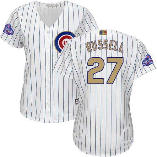 Women's Majestic Chicago Cubs #27 Addison Russell Authentic White 2017 Gold Program MLB Jersey