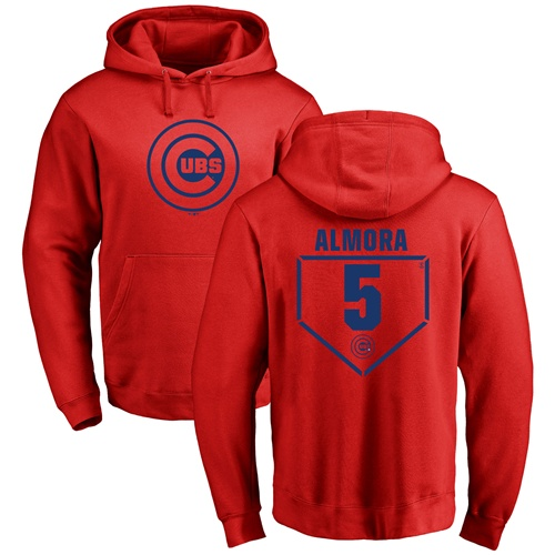 MLB Nike Chicago Cubs #5 Albert Almora Jr Red RBI Pullover Hoodie