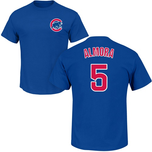 MLB Nike Chicago Cubs #5 Albert Almora Jr Royal Blue Name & Number T-Shirt