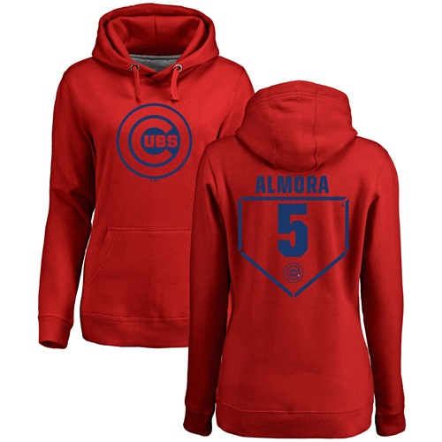 MLB Women's Nike Chicago Cubs #5 Albert Almora Jr Red RBI Pullover Hoodie
