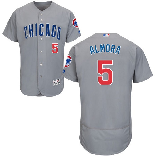 Men's Majestic Chicago Cubs #5 Albert Almora Jr Grey Road Flexbase Authentic Collection MLB Jersey