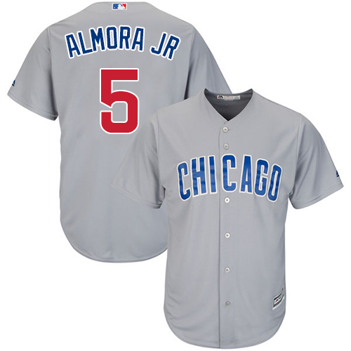 Men's Majestic Chicago Cubs #5 Albert Almora Jr Replica Grey Road Cool Base MLB Jersey