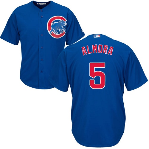 Men's Majestic Chicago Cubs #5 Albert Almora Jr Replica Royal Blue Alternate Cool Base MLB Jersey