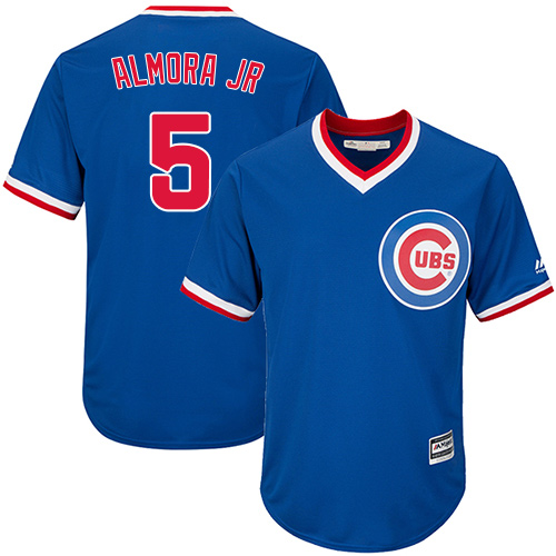 Men's Majestic Chicago Cubs #5 Albert Almora Jr Replica Royal Blue Cooperstown Cool Base MLB Jersey