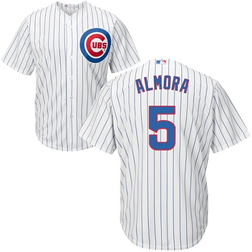 Men's Majestic Chicago Cubs #5 Albert Almora Jr Replica White Home Cool Base MLB Jersey