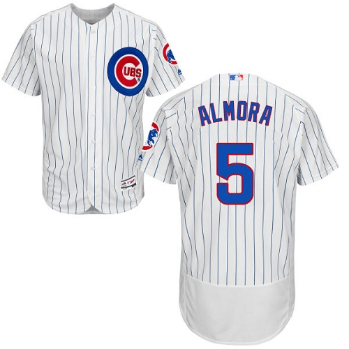 Men's Majestic Chicago Cubs #5 Albert Almora Jr White Home Flexbase Authentic Collection MLB Jersey