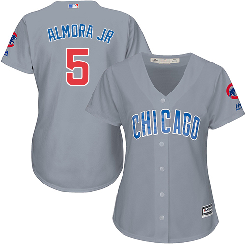Women's Majestic Chicago Cubs #5 Albert Almora Jr Authentic Grey Road MLB Jersey