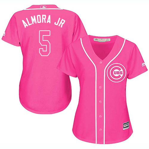 Women's Majestic Chicago Cubs #5 Albert Almora Jr Authentic Pink Fashion MLB Jersey