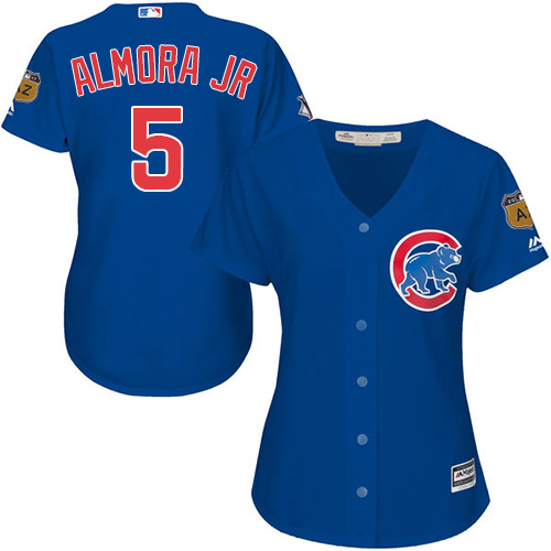Women's Majestic Chicago Cubs #5 Albert Almora Jr Authentic Royal Blue Alternate MLB Jersey