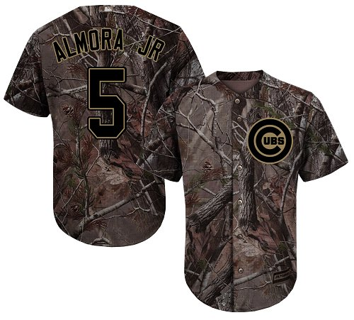 Youth Majestic Chicago Cubs #5 Albert Almora Jr Authentic Camo Realtree Collection Flex Base MLB Jersey
